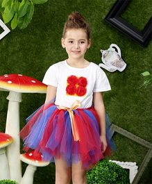 Awabox Flower Applique Tee & Tutu Skirt - White & Red