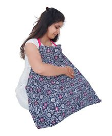 My Stork Story Feeding Cloak Floral Print - Navy & White