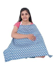 My Stork Story Feeding Cloak Greek Print - Blue & White