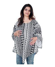 My Stork Story Maternity And Nursing Poncho Abstract Print - Black & White