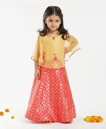 Babyhug Sleeveless Choli And Lehenga With Cape Floral Design - Golden Red