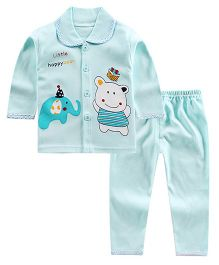 Pre Order - Aww Hunnie Happy Bear Printed Peter Pan Collar Nightsuit - Blue