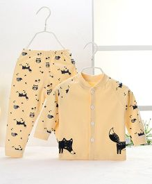 Pre Order - Aww Hunnie Owl & Fox Printed Nightsuit - Yellow