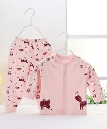 Pre Order - Aww Hunnie Owl & Fox Printed Nightsuit - Pink