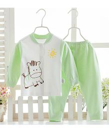 Pre Order - Aww Hunnie Cute Horse Motif Printed Nightsuit - Green
