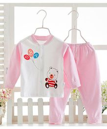 Pre Order - Aww Hunnie Cute Bear Motif Printed Nightsuit - Pink