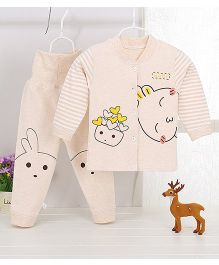 Pre Order - Aww Hunnie Bunny Motif Printed Striped Sleeves Nightsuit - Khaki