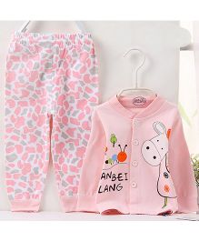 Pre Order - Aww Hunnie Cute Cartoon Printed Nightsuit With Contrast Printed Bottoms - Pink