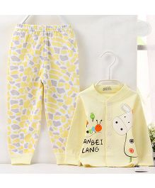 Pre Order - Aww Hunnie Cute Cartoon Printed Nightsuit With Contrast Printed Bottoms - Yellow