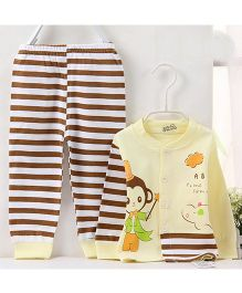 Pre Order - Aww Hunnie Contrast Striped Cute Monkey Printed Nightsuit - Yellow