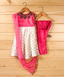 Babyhug Sleeveless Kurti & Churidar Set With Dupatta - Pink