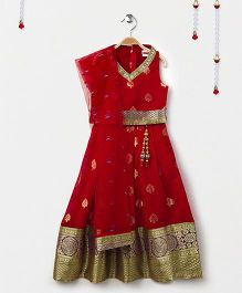 Babyhug Sleeveless Choli And Lehenga With Dupatta - Red