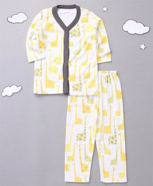 Playbeez Long Sleeves Cute Giraffe Print Top With Pull Bottoms - Yellow/White