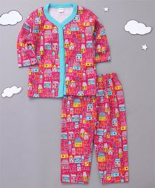 Playbeez Cute Village Houses Print Top With Pull Bottoms - Multi Color
