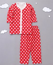 Playbeez Long Sleeves Polka Dot Sleepwear - Red