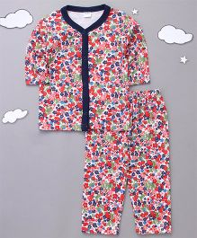 Playbeez Flowers & Strawberries Print Sleepwear - Multi Color