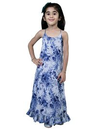 Nino By Vani Mehta Full Length Bottom Frilled Printed Dress - Blue & White