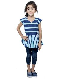 Nino By Vani Mehta Stripe Printed Peplum Top - Blue