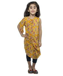 Nino By Vani Mehta Printed Cowl Kurta - Yellow