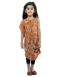 Nino By Vani Mehta Printed Cowl Kurta - Orange