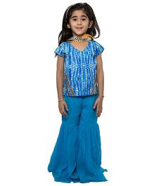 Nino By Vani Mehta Tie & Dye Lehenga Choli 3 Pcs Set - Blue