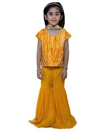 Nino By Vani Mehta Tie & Dye Lehenga Choli 3 Pcs Set - Yellow
