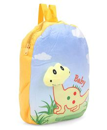 Dimpy Stuff Soft Nursery Bag With Baby Dino Print Yellow - 14 inch