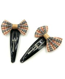 Magic Needles Checked Tic Tac Hair Clips With Bow Set Of 2 - Brown