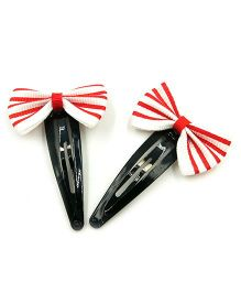 Magic Needles Striped Tic Tac Hair Clips With Bow Set Of 2 - Red & White