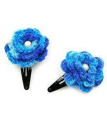 Magic Needles Tic Tac Hair Clips With Flower Set Of 2 - Blue