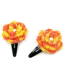 Magic Needles Tic Tac Hair Clips With Flower Set Of 2 - Yellow Orange