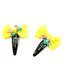 Magic Needles Tic Tac Hair Clips With Bows & Frills Set Of 2 - Yellow