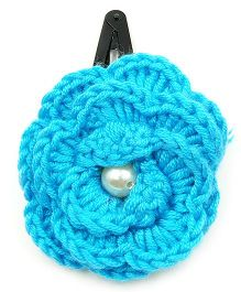 Magic Needles Tic Tac Hair Clips With Big Crochet Rose - Teal Blue