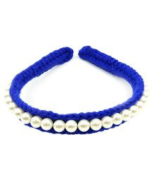 Magic Needles Fancy Hairband With Pearls  - Dark Blue