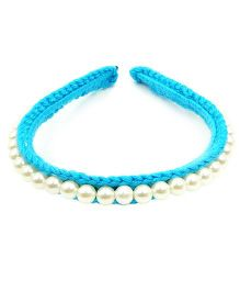 Magic Needles Fancy Hairband With Pearls  - Light Blue