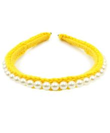 Magic Needles Fancy Hairband With Pearls  - Yellow