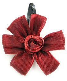 Magic Needles Tic Tac Hair Clips With Flower - Maroon