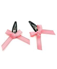 Magic Needles Tic Tac Hair Clips With Bow Set Of 2 - Peach