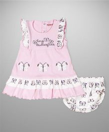 Wonderchild Flutter Dress With Bloomer - Pink & White
