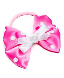 Ribbon Candy Polka On Bow Hair Tie - Pink & White