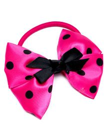 Ribbon Candy Polka On Bow Hair Tie - Pink & Black