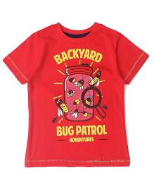 UFO Half Sleeves T-Shirt Bug Print - Red