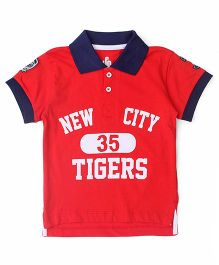 UFO Half Sleeves T-Shirt New City 35 Tigers Print - Red