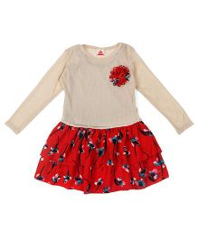 UFO Full Sleeves Dress With Flower Applique - Beige & Red