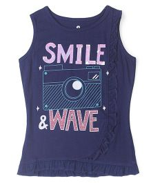 UFO Sleeveless Smile & Wave Tee - Navy Blue