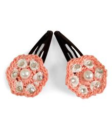 Creative Crochet Knitted Crochet Flower Hair Clip - White And Pink