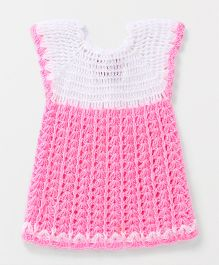 Rich Handknits Short Sleeves Woollen Dress - Pink