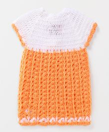 Rich Handknits Short Sleeves Woollen Dress - Orange