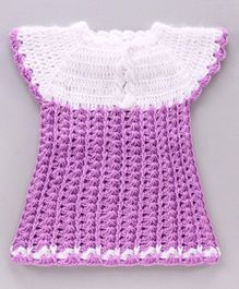 Rich Handknits Short Sleeves Woollen Dress - Light Purple