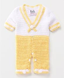 Rich Handknits Half Sleeves Winter Wear Romper - Yellow